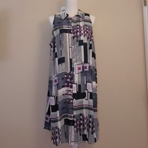 Alfani blue purple button up dress 2X